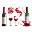 realistic wine splash set vector image vector image