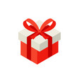 red present box with bow isometric object vector image