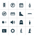 religion icons set with ketupat man woman and vector image vector image