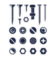 screw silhouette bolt nail set fixing screw self vector image