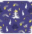 Seamless pattern with Christmas forest vector image