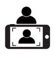 selfie icon on white background flat style phone vector image vector image