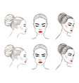 set beautiful woman with bun hairstyle and vector image vector image