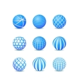 Set of Blue Abstract Round Stripe Ball Icon vector image vector image