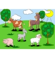 Set of domestic animals on background vector image vector image