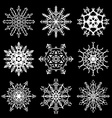 Set of drawn snowflake silhouettes vector image vector image
