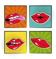set sexy female lips bubble speech pop art vector image