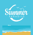 summer travel seascape with ship and inscription vector image vector image