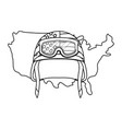 united state map and military helmet black and vector image vector image