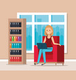 woman with laptop in the library scene vector image vector image