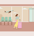 woman with luggage using smartphone walking vector image