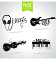 Music silhouette set vector image