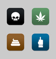 Web icons for Bully shit and cannabis and vector image