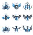 ancient castles emblems set heraldic coat arms vector image