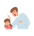angry father dad screaming daughter bagirl vector image vector image