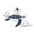 astronaut and turtle in clouds vector image