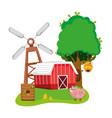beautiful farm cartoons vector image vector image