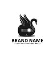 black swan guitar logo design vector image