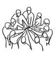 business people teamwork join hands vector image