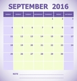 Calendar September 2016 week starts Sunday vector image vector image