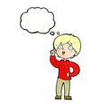 cartoon boy with idea with thought bubble vector image vector image