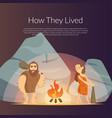 cartoon cavemen background vector image