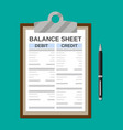 clipboard with balance sheet and pen vector image vector image