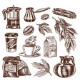 coffee in vintage style a bag grain cocoa vector image vector image