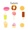 collection of lovely baby sweet and dessert vector image vector image