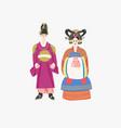 couple in traditional korean wedding dresses wear vector image vector image