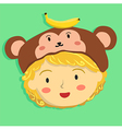 Curly Girl with Monkey Hat vector image vector image