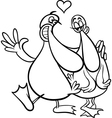 ducks in love cartoon coloring page vector image