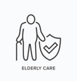 elderly citizen care line icon outline vector image