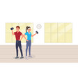 fitness man and woman in gym vector image