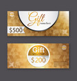 gift voucher template with gold pattern vector image vector image
