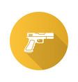 gun pistol flat design long shadow glyph icon vector image vector image