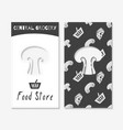 Hand drawn silhouettes food store business cards