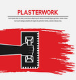 hand with trowel plaster work design vector image
