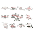Happy Christmas wishes collection with ribbons and vector image vector image