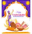 happy vaisakhi punjabi spring harvest festival of vector image vector image