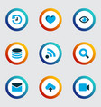 interface icons colored set with history arrow vector image vector image