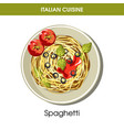 italian cuisine spaghetti pasta icon vector image vector image