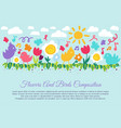kid color flower and bird vector image