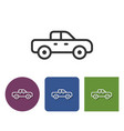 line icon of pickup truck icon in different vector image vector image