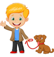 Little boy with his dog isolated vector image vector image