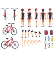 man in special sport clothes and modern bicycle vector image vector image