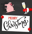 merry christmas and happy new year with funny pig vector image vector image