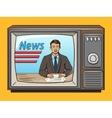 News presenter on tv pop art style vector image