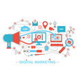 online digital marketing and social network media vector image vector image
