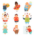 overweight boys and girls set cute chubby vector image vector image